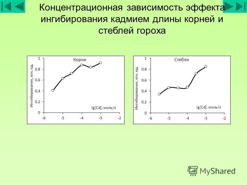 Концентрационная зависимость эффекта ингибирования кадмием длины корней и стеблей гороха