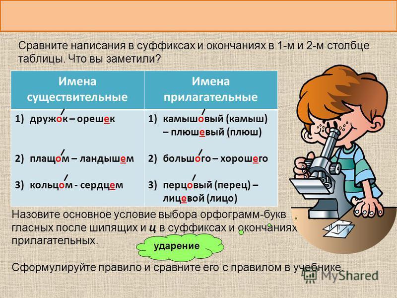 Назовите основное условие выбора орфограмм-букв гласных после шипящих и ц в суффиксах и окончаниях прилагательных. Имена существительные Имена прилагательные 1)дружок – орешек 2)плащом – ландышем 3)кольцом - сердцем 1)камышовый (камыш) – плюшевый (пл