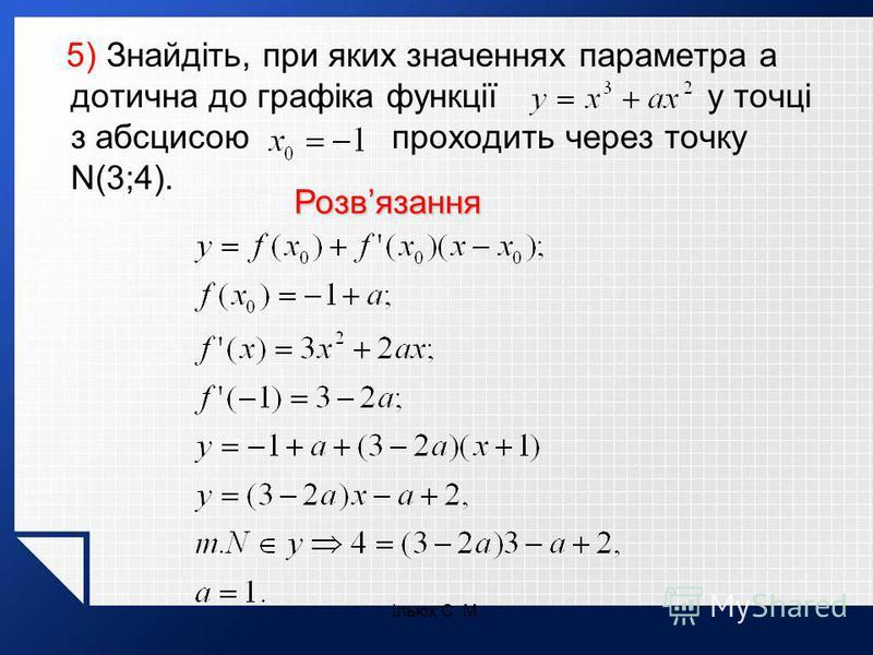 Ільюх С. М. 5) Знайдіть, при яких значеннях параметра а дотична до графіка функції у точці з абсцисою проходить через точку N(3;4). Розвязання