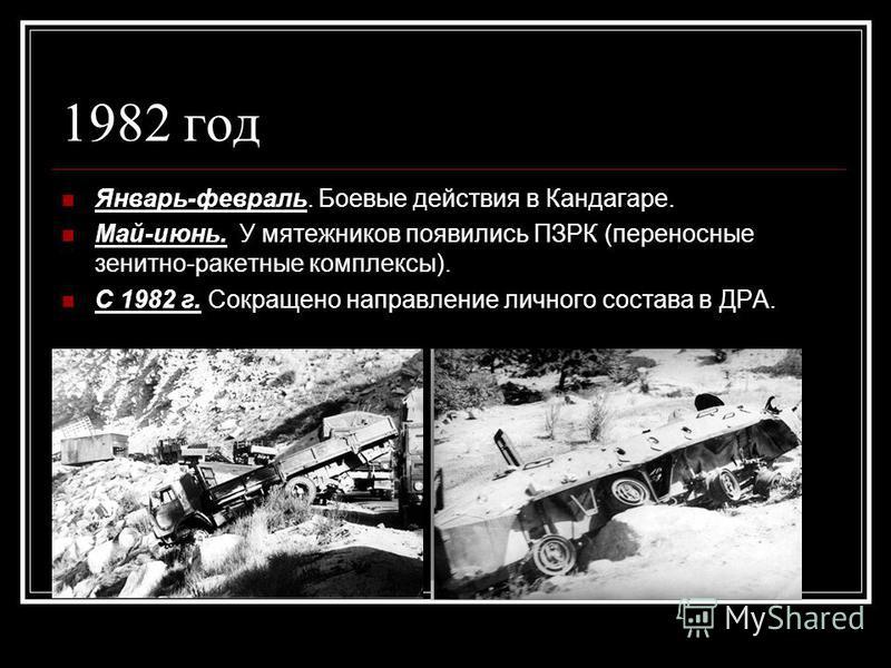 1982 год Январь-февраль. Боевые действия в Кандагаре. Май-июнь. У мятежников появились ПЗРК (переносные зенитно-ракетные комплексы). С 1982 г. Сокращено направление личного состава в ДРА.