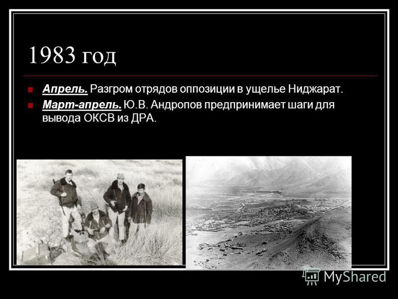 1983 год Апрель. Разгром отрядов оппозиции в ущелье Ниджарат. Март-апрель. Ю.В. Андропов предпринимает шаги для вывода ОКСВ из ДРА.