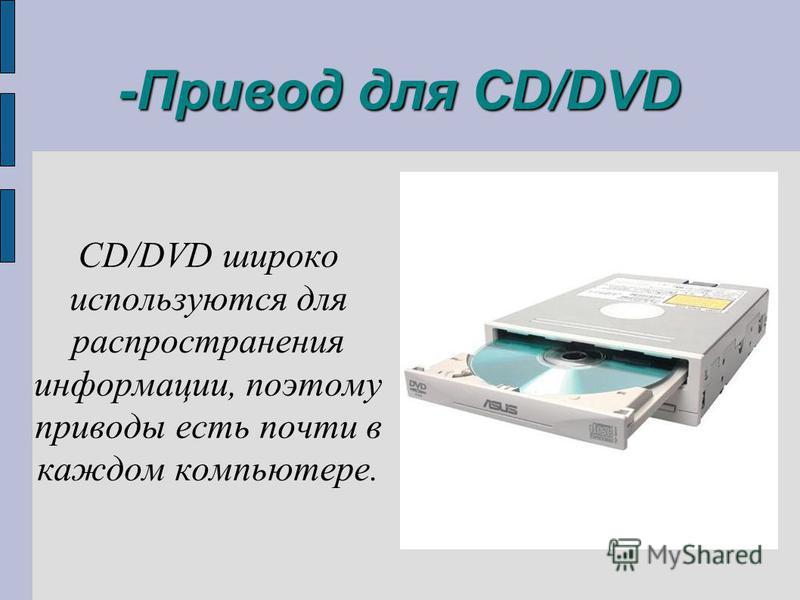 -Привод для CD/DVD CD/DVD широко используются для распространения информации, поэтому приводы есть почти в каждом компьютере.