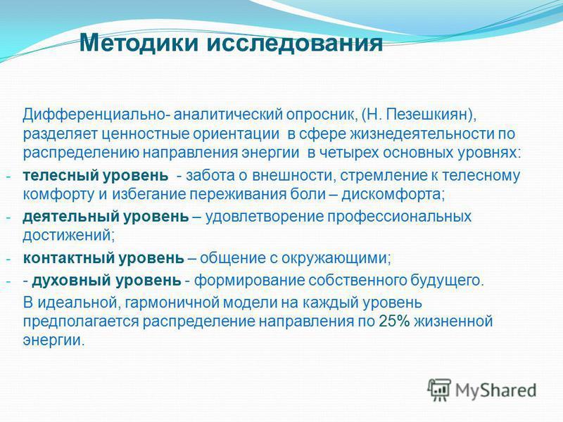 Методики исследования Дифференциально- аналитический опросник, (Н. Пезешкиян), разделяет ценностные ориентации в сфере жизнедеятельности по распределению направления энергии в четырех основных уровнях: - телесный уровень - забота о внешности, стремле
