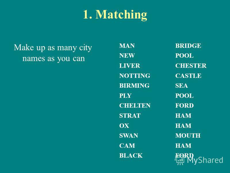 1. Matching Make up as many city names as you can MANBRIDGE NEWPOOL LIVERCHESTER NOTTINGCASTLE BIRMINGSEA PLYPOOL CHELTENFORD STRATHAM OXHAM SWANMOUTH CAMHAM BLACKFORD
