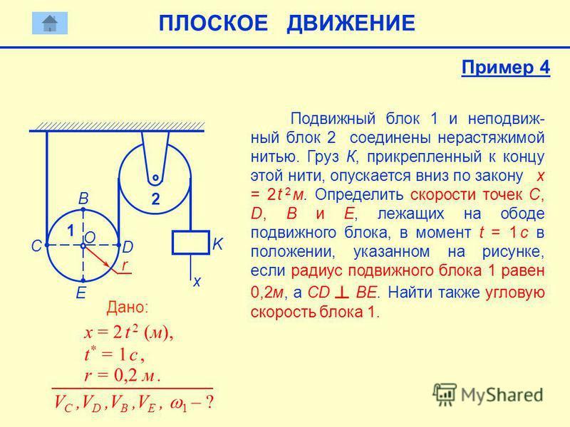 r Подвижный блок 1 и неподвижный блок 2 соединены нерастяжимой нитью. Груз К, прикрепленный к концу этой нити, опускается вниз по закону x = 2 t 2 м. Определить скорости точек С, D, B и Е, лежащих на ободе подвижного блока, в момент t = 1 c в положен