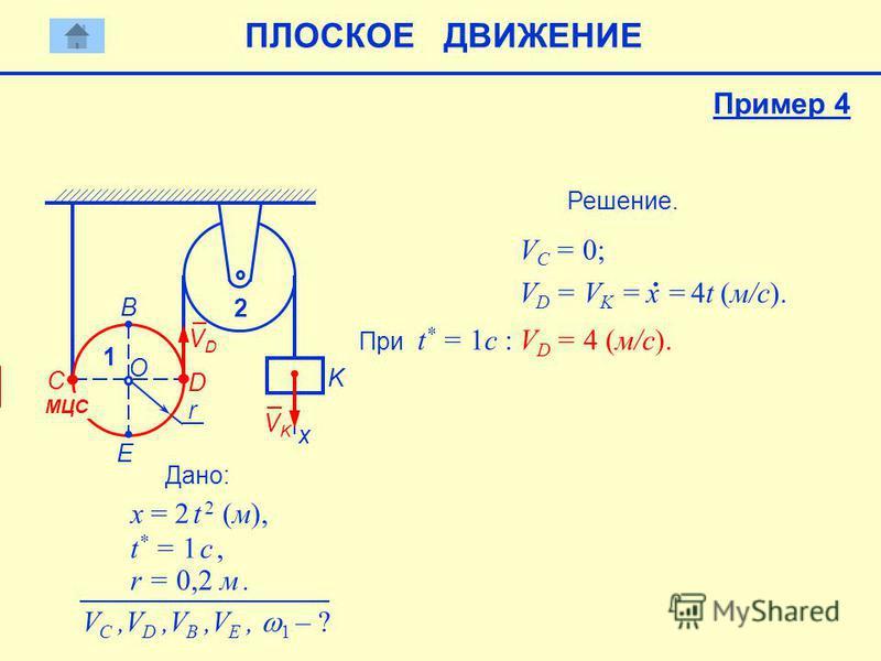 Дано: x = 2 t 2 (м), t * = 1 c, r = 0,2 м. V C,V D,V B,V E, 1 – ? Решение. V C = 0; K x 2 VKVK V D = V K = 4t (м/с). x = При t * = 1c : V D = 4 (м/с). r О Е B C 1 МЦС D VDVD Пример 4 ПЛОСКОЕ ДВИЖЕНИЕ