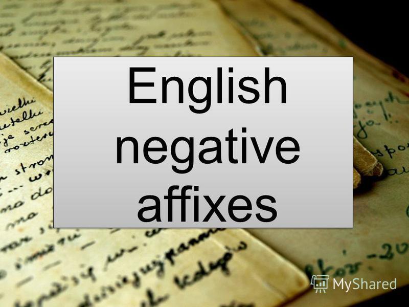 English negative affixes