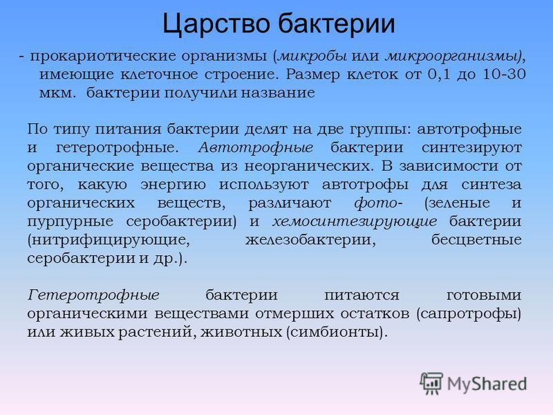 Царство бактерии - прокариотические организмы ( микробы или микроорганизмы), имеющие клеточное строение. Размер клеток от 0,1 до 10-30 мкм. бактерии получили название По типу питания бактерии делят на две группы: автотрофные и гетеротрофные. Автотроф
