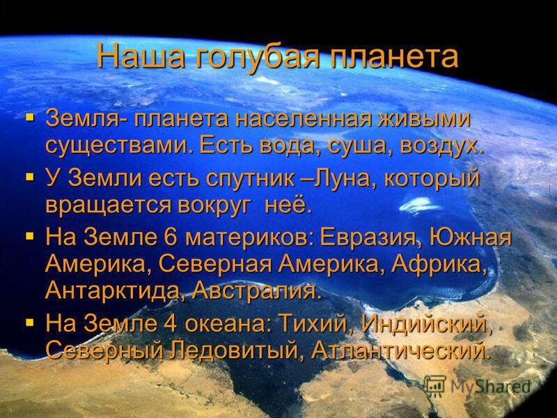 Наша голубая планета Земля- планета населенная живыми существами. Есть вода, суша, воздух. Земля- планета населенная живыми существами. Есть вода, суша, воздух. У Земли есть спутник –Луна, который вращается вокруг неё. У Земли есть спутник –Луна, кот