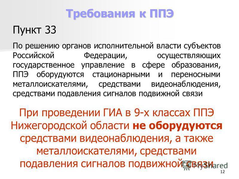 12 Требования к ППЭ Пункт 33 По решению органов исполнительной власти субъектов Российской Федерации, осуществляющих государственное управление в сфере образования, ППЭ оборудуются стационарными и переносными металлоискателями, средствами видеонаблюд
