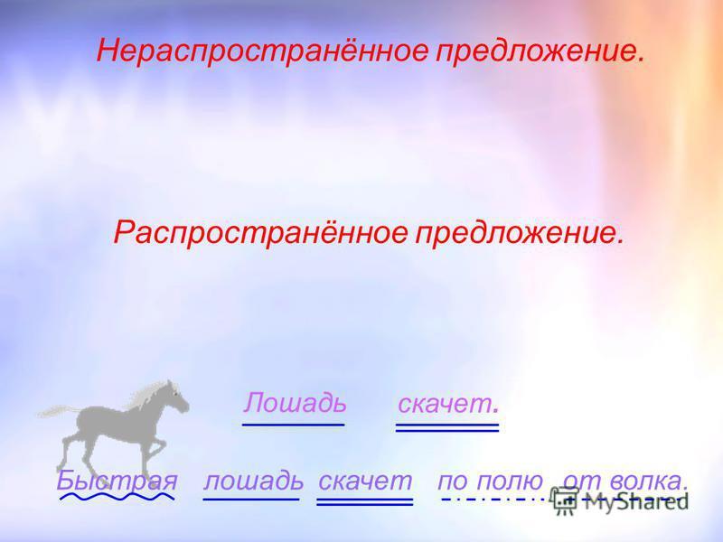 Лошадь скачет. лошадь скачет Быстраяпо полю от волка. Распространённое предложение. Нераспространённое предложение.