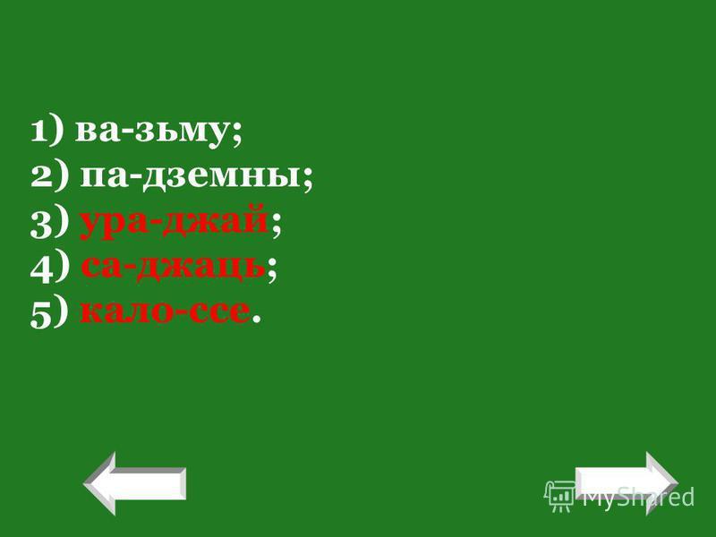! 1) ва-зьму; 2) па-дземны; 3) ура-джай; 4) са-джаць; 5) кало-ссе. !