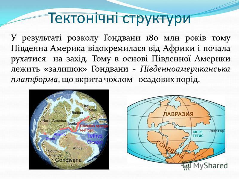 Тектонічні структури У результаті розколу Гондвани 180 млн років тому Південна Америка відокремилася від Африки і почала рухатися на захід. Тому в основі Південної Америки лежить «залишок» Гондвани - Південноамериканська платформа, що вкрита чохлом о