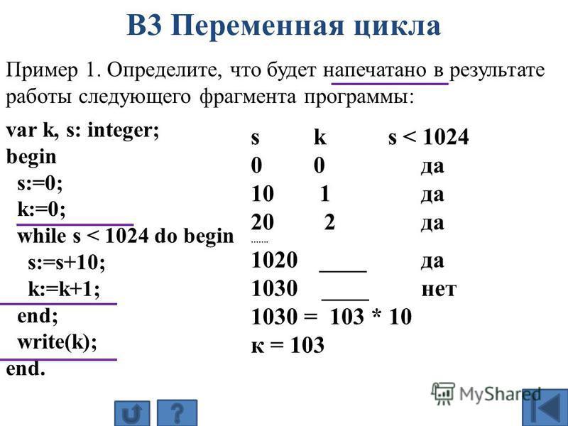 Пример 1. Определите, что будет напечатано в результате работы следующего фрагмента программы: var k, s: integer; begin s:=0; k:=0; while s < 1024 do begin s:=s+10; k:=k+1; end; write(k); end. s k s < 1024 0 0 да 10 1 да 20 2 да ……. 1020 ____да 1030