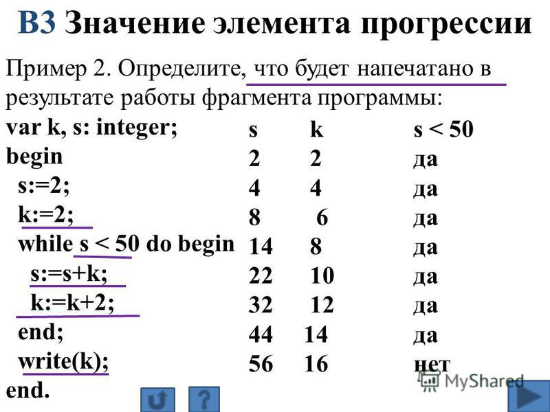 Пример 2. Определите, что будет напечатано в результате работы фрагмента программы: var k, s: integer; begin s:=2; k:=2; while s < 50 do begin s:=s+k; k:=k+2; end; write(k); end. В3 Значение элемента прогрессии s k s < 50 2 2 да 4 4 да 8 6 да 14 8 да