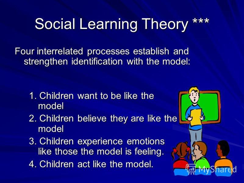 Social Learning Theory Research indicates that the following factors influence the strength of learning from models: 1. How much power the model seems to have 2. How capable the model seems to be 3. How nurturing (caring) the model seems to be 4. How