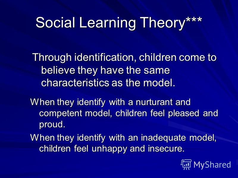 Social Learning Theory *** Four interrelated processes establish and strengthen identification with the model: 1. Children want to be like the model 2. Children believe they are like the model 3. Children experience emotions like those the model is f