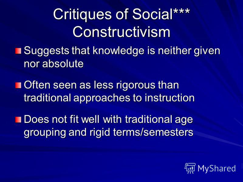 Social Constructivism in the Classroom **** Journaling Experiential activities Personal focus Collaborative & cooperative learning