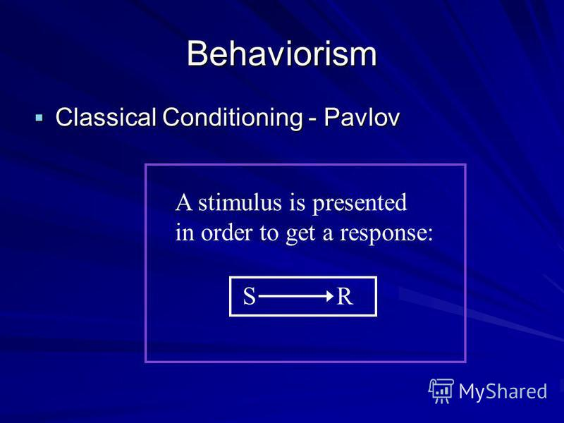Behaviorism Confined to observable and measurable behavior Classical Conditioning - Pavlov Classical Conditioning - Pavlov Operant Conditioning - Skinner Operant Conditioning - Skinner