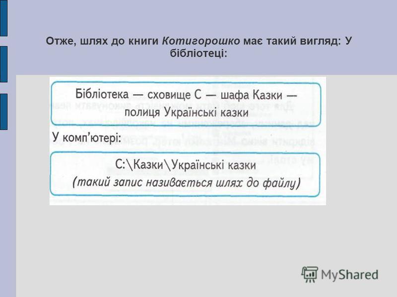 Отже, шлях до книги Котигорошко має такий вигляд: У бібліотеці: