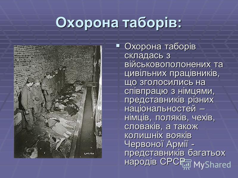 Охорона таборів: Охорона таборів складась з військовополонених та цивільних працівників, що зголосились на співпрацю з німцями, представників різних національностей – німців, поляків, чехів, словаків, а також колишніх вояків Червоної Армії - представ