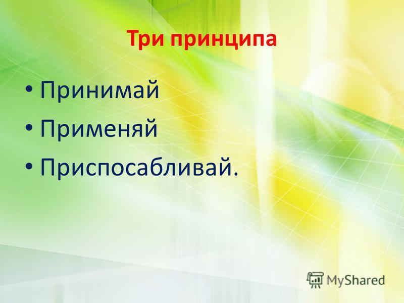 Три принципа Принимай Применяй Приспосабливай.
