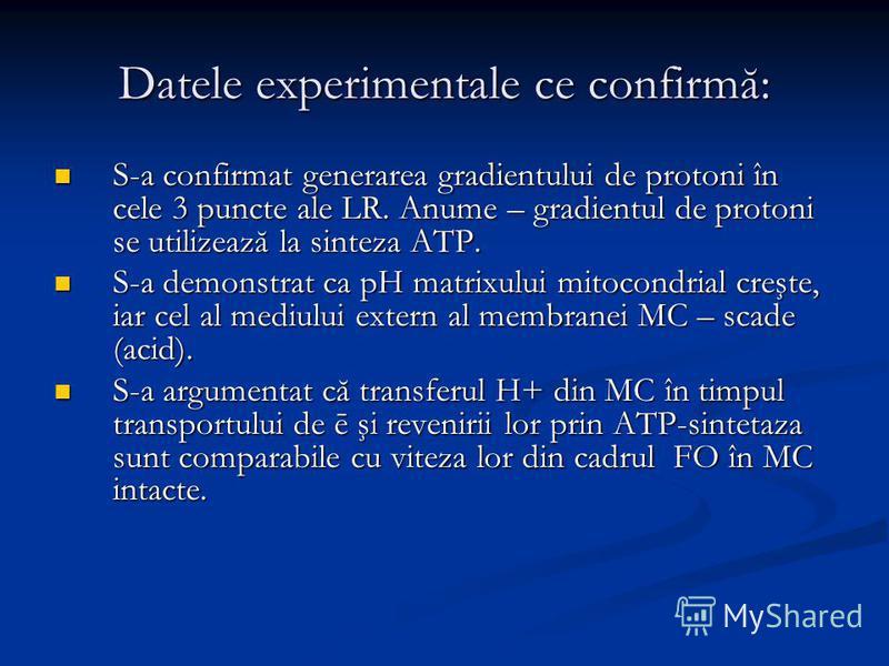 Datele experimentale ce confirmă: S-a confirmat generarea gradientului de protoni în cele 3 puncte ale LR. Anume – gradientul de protoni se utilizează la sinteza ATP. S-a confirmat generarea gradientului de protoni în cele 3 puncte ale LR. Anume – gr