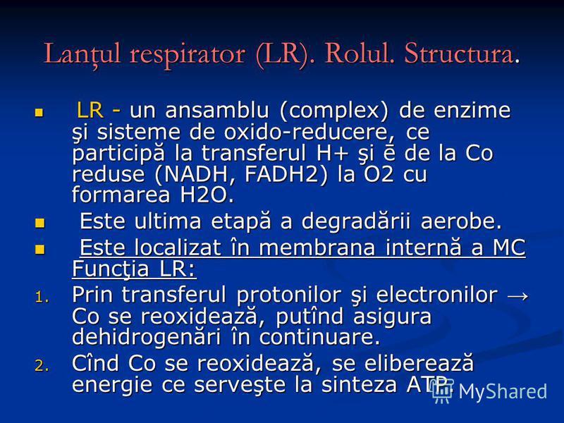 Lanţul respirator (LR). Rolul. Structura. LR - un ansamblu (complex) de enzime şi sisteme de oxido-reducere, ce participă la transferul H+ şi ē de la Co reduse (NADH, FADH2) la O2 cu formarea H2O. LR - un ansamblu (complex) de enzime şi sisteme de ox