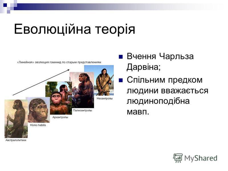 Еволюційна теорія Вчення Чарльза Дарвіна; Спільним предком людини вважається людиноподібна мавп.