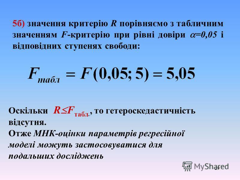 29 5б) значення критерію R порівняємо з табличним значенням F-критерію при рівні довіри =0,05 і відповідних ступенях свободи: Оскільки R F табл., то гетероскедастичність відсутня. Отже МНК-оцінки параметрів регресійної моделі можуть застосовуватися д