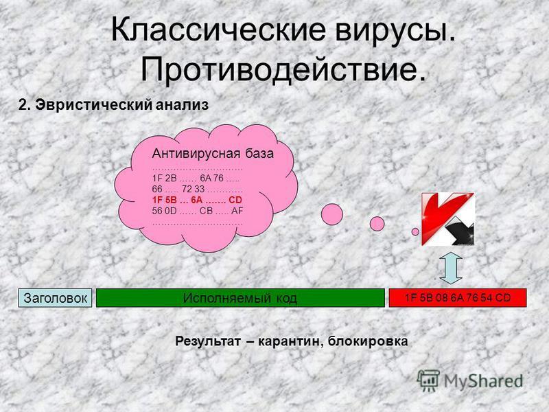Классические вирусы. Противодействие. Заголовок Исполняемый код 1F 5В 08 6A 76 54 CD 2. Эвристический анализ Антивирусная база ………………………… 1F 2В …… 6A 76 ….. 66 ….. 72 33 ………… 1F 5В … 6A ……. CD 56 0D …… CB ….. AF ………………………… Результат – карантин, блоки