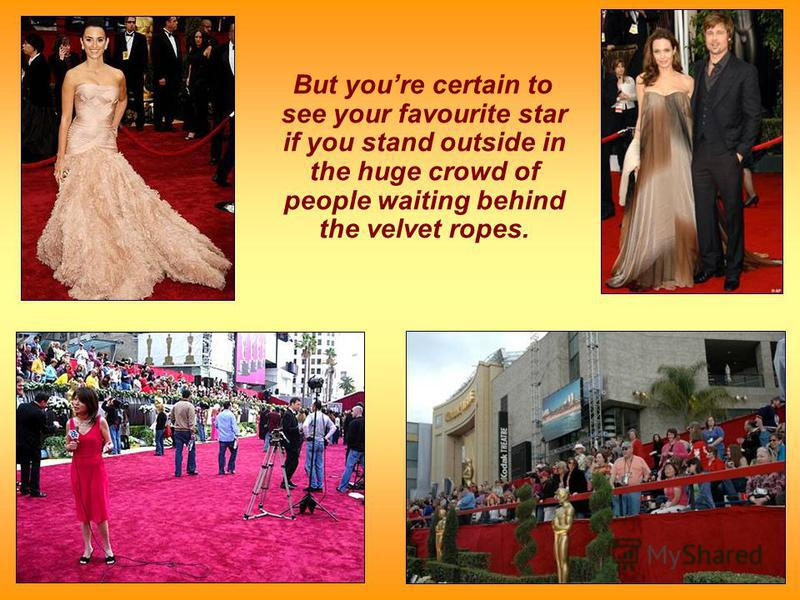 But youre certain to see your favourite star if you stand outside in the huge crowd of people waiting behind the velvet ropes.