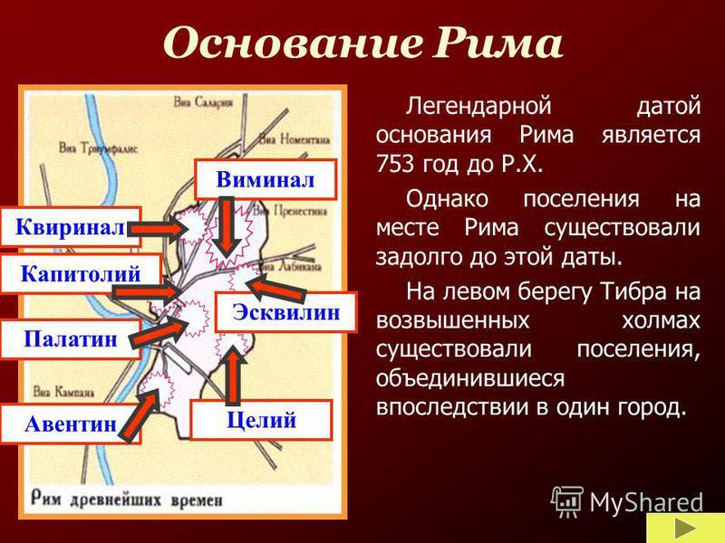 Основание Рима Легендарной датой основания Рима является 753 год до Р.Х. Однако поселения на месте Рима существовали задолго до этой даты. На левом берегу Тибра на возвышенных холмах существовали поселения, объединившиеся впоследствии в один город. К