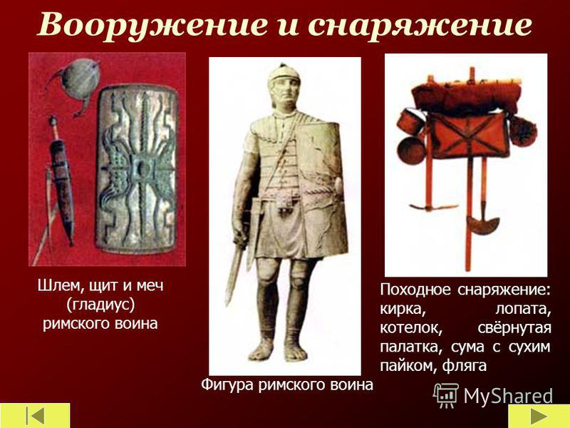 Вооружение и снаряжение Шлем, щит и меч (гладиус) римского воина Фигура римского воина Походное снаряжение: кирка, лопата, котелок, свёрнутая палатка, сума с сухим пайком, фляга