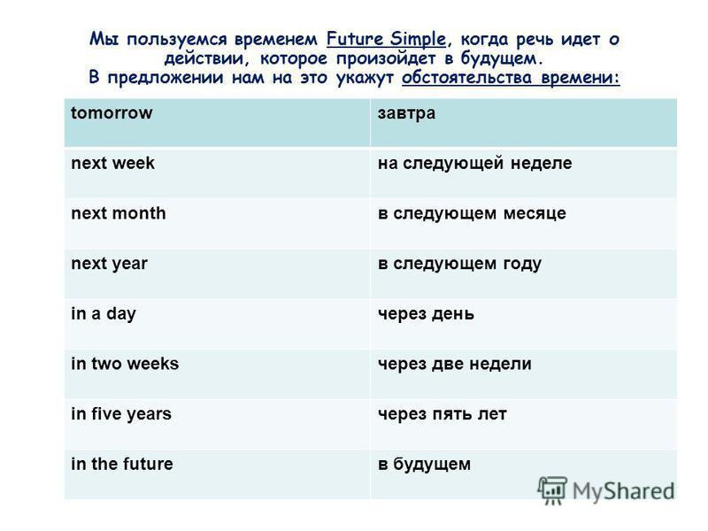 Мы пользуемся временем Future Simple, когда речь идет о действии, которое произойдет в будущем. В предложении нам на это укажут обстоятельства времени: tomorrowзавтра next weekна следующей неделе next monthв следующем месяце next yearв следующем году