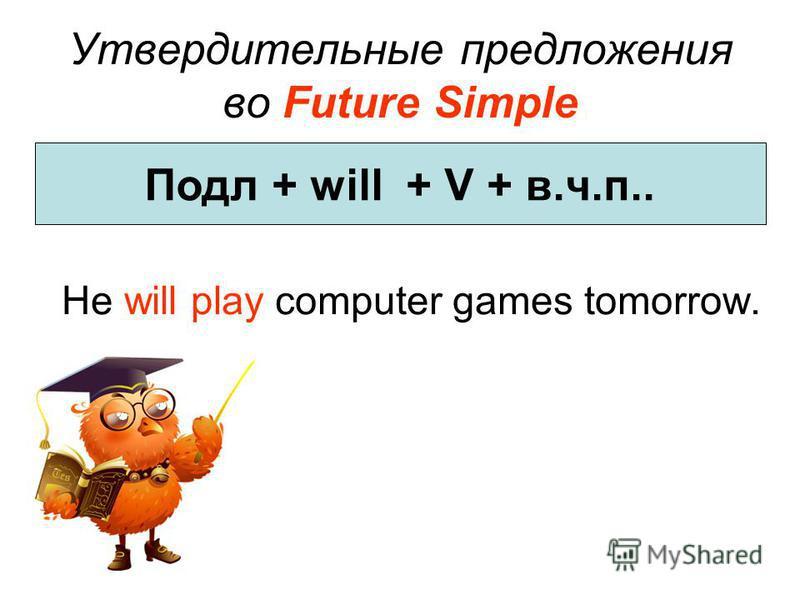 Утвердительные предложения во Future Simple He will play computer games tomorrow. Подл + will + V + в.ч.п..