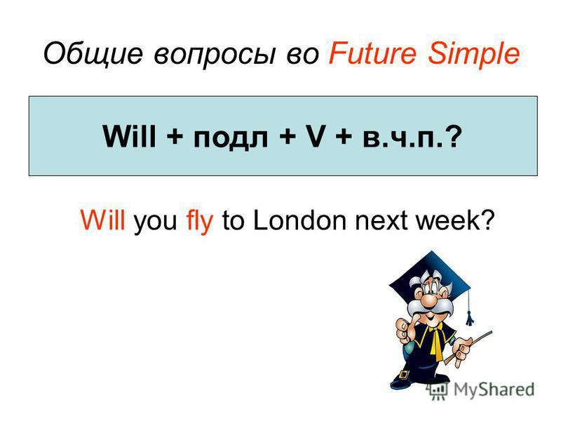Общие вопросы во Future Simple Will you fly to London next week? Will + подл + V + в.ч.п.?