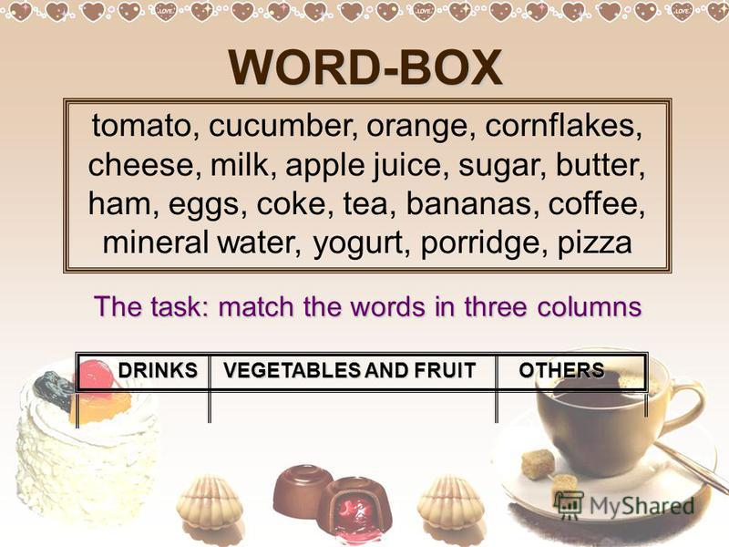 WORD-BOX tomato, cucumber, orange, cornflakes, cheese, milk, apple juice, sugar, butter, ham, eggs, coke, tea, bananas, coffee, mineral water, yogurt, porridge, pizza The task: match the words in three columns DRINKS VEGETABLES AND FRUIT OTHERS