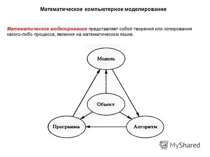 Математическое моделирование представляет собой творения или копирования какого-либо процесса, явления на математическом языке. Математическое компьютерное моделирование