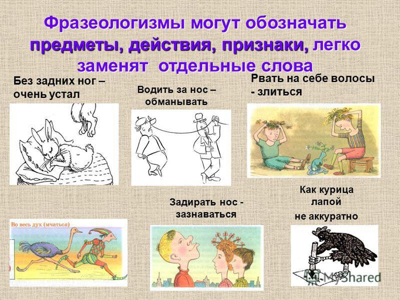Рвать на себе волосы - злиться Как курица лапой не аккуратно Без задних ног – очень устал Водить за нос – обманывать Задирать нос - зазнаваться Фразеологизмы могут обозначать предметы, действия, признаки, легко заменят отдельные слова