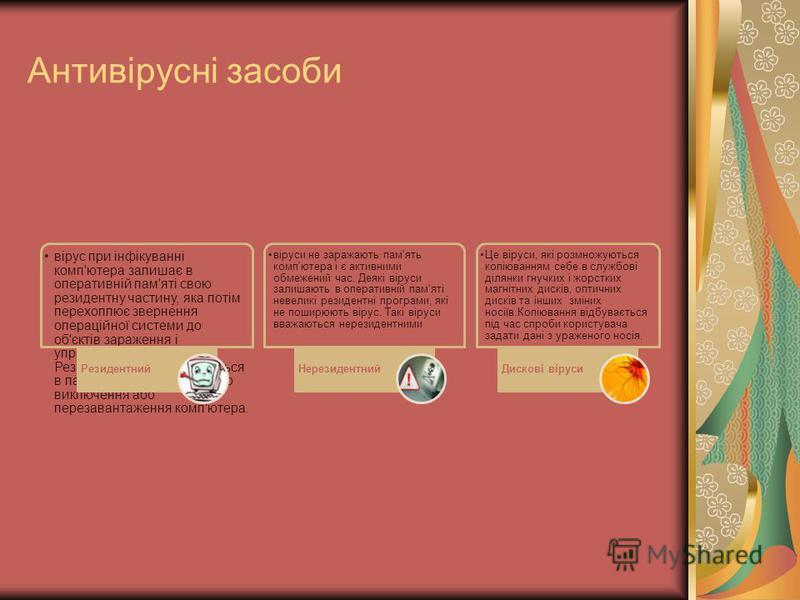 Антивірусні засоби вірус при інфікуванні комп'ютера залишає в оперативній пам'яті свою резидентну частину, яка потім перехоплює звернення операційної системи до об'єктів зараження і упроваджується в них. Резидентні віруси знаходяться в пам'яті і є ак