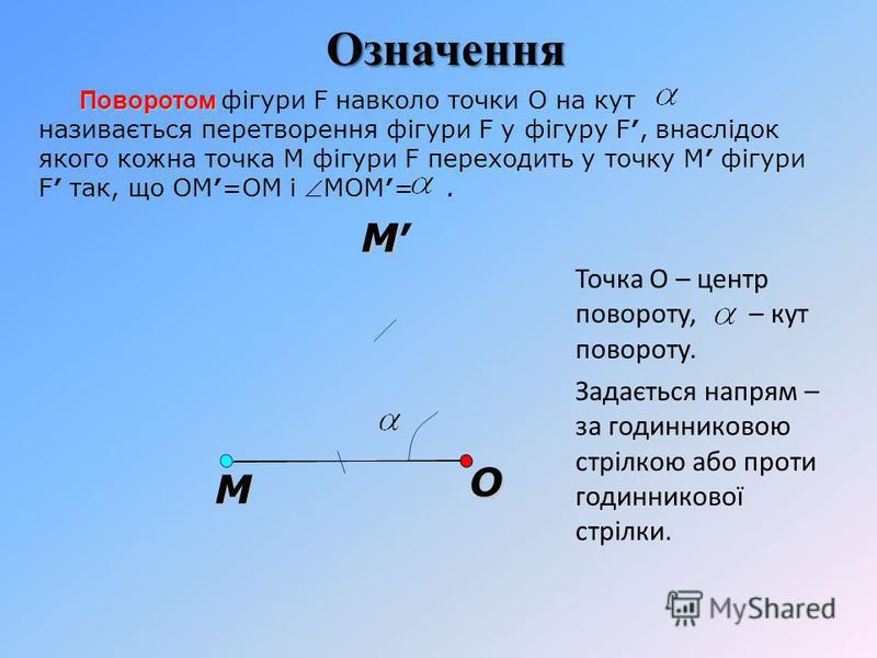 O Поворотом Поворотом фігури F навколо точки О на кут називається перетворення фігури F у фігуру F, внаслідок якого кожна точка M фігури F переходить у точку M фігури F так, що ОM=ОM і MОM=. М М Точка О – центр повороту, – кут повороту. Задається нап