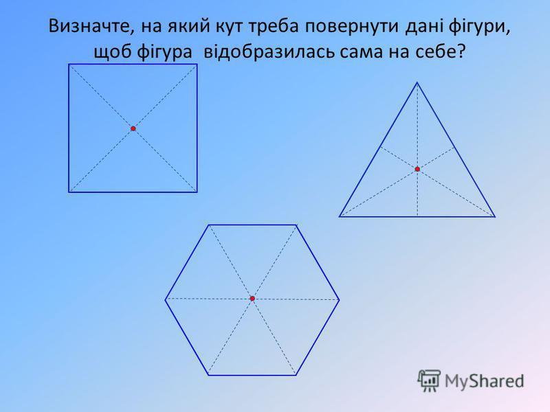 Визначте, на який кут треба повернути дані фігури, щоб фігура відобразилась сама на себе?