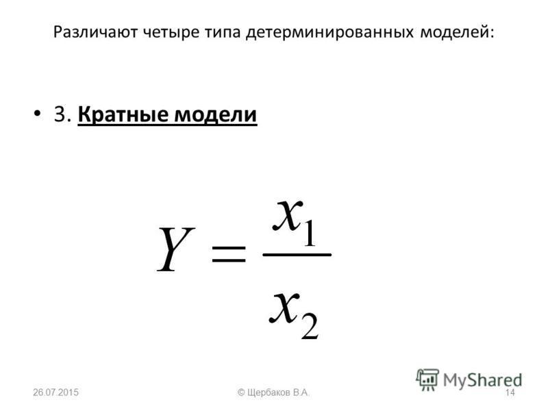 Различают четыре типа детерминированных моделей: 3. Кратные модели 26.07.201514© Щербаков В.А.