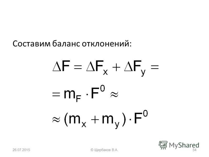 Составим баланс отклонений: 26.07.201554© Щербаков В.А.