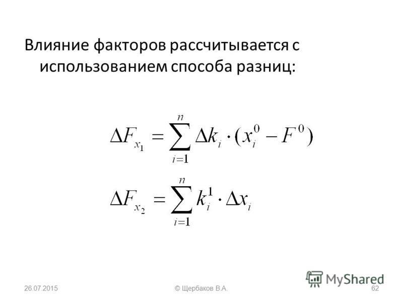 Влияние факторов рассчитывается с использованием способа разниц: 26.07.201562© Щербаков В.А.