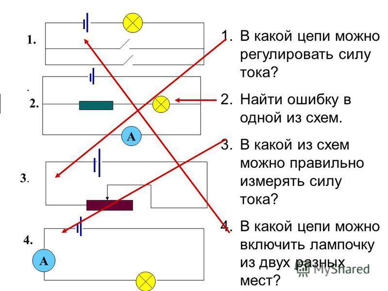 1. А 4. 3.3.. 2. А 1. В какой цепи можно регулировать силу тока? 2. Найти ошибку в одной из схем. 3. В какой из схем можно правильно измерять силу тока? 4. В какой цепи можно включить лампочку из двух разных мест?