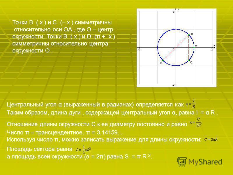 Центральный угол α (выраженный в радианах) определяется как Таким образом, длина дуги, содержащей центральный угол α, равна l = α R. Отношение длины окружности C к ее диаметру постоянно и равно Число π – трансцендентное, π = 3,14159... Используя числ