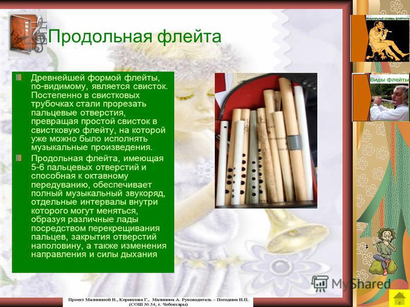 Виды флейты Флейта за свою многовековую историю не раз меняла свой внешний вид. До наших дней сохранились разнообразные виды флейт. Продольная флейта Блокфлейта Флейта Сяо Поперечная флейта Флейты Бансури Флейты Ди Флейта – пикколо Флейта Пана
