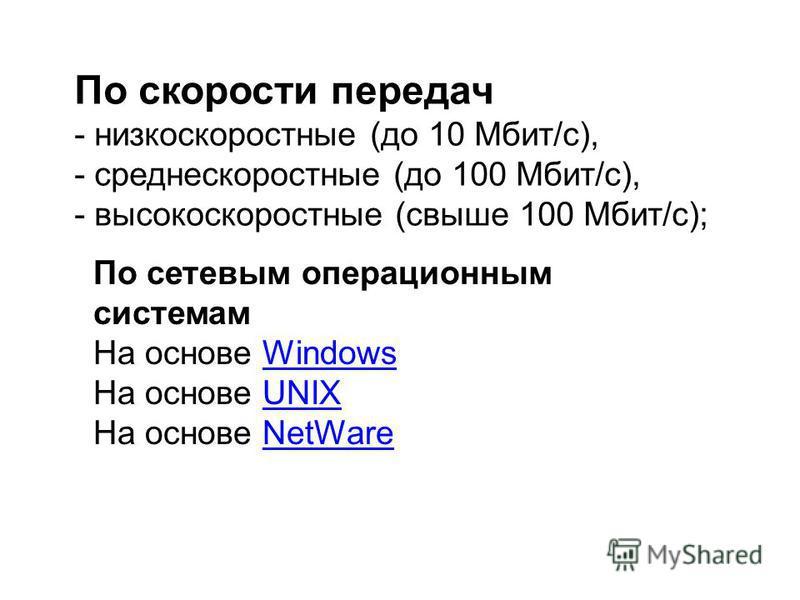По скорости передач - низкоскоростные (до 10 Мбит/с), - среднескоростные (до 100 Мбит/с), - высокоскоростные (свыше 100 Мбит/с); По сетевым операционным системам На основе WindowsWindows На основе UNIXUNIX На основе NetWareNetWare